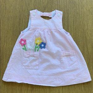 Florence Eiseman Pink Seersucker Bunny dress 6M
